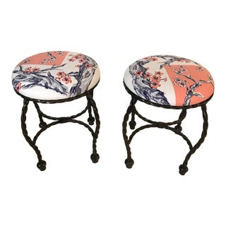 1970s Vintage Coral & Floral Print Stools- A Pair For Sale