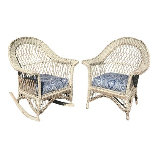 Vintage Wicker Rocker & Chair - a Pair For Sale