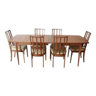 Broyhill Brasilia Mid-Century Modern Walnut Dining Set For Sale