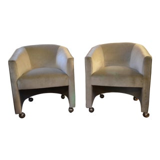 Mid Century Modern Milo Baughman Style Barrel Back Chairs on Casters Newly Upholstered - Pair For Sale