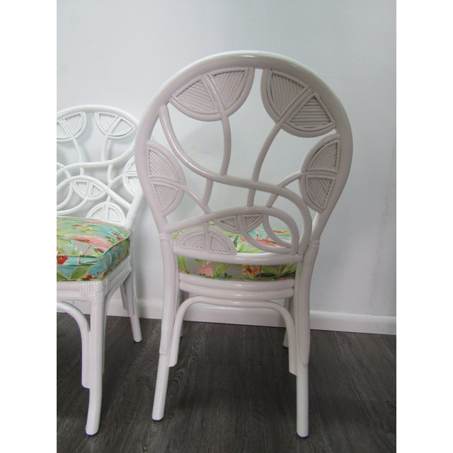 Mid 20th Century Vintage Mid Century Ornate Pencil Reed Rattan Chairs- Set of 4 For Sale - Image 5 of 9