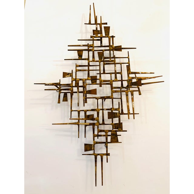 Abstract Mid Century Modern Brass Wall Sculpture For Sale - Image 11 of 11