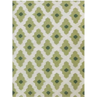 Zara Trellis Green Flat-Weave Rug 8'x10' For Sale
