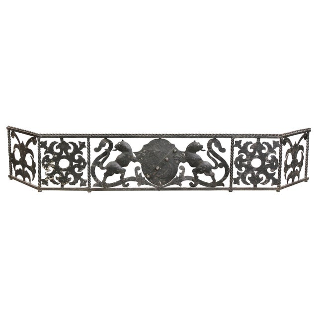 Dark Gray Italian Wrought Iron Fire Fender For Sale - Image 8 of 8