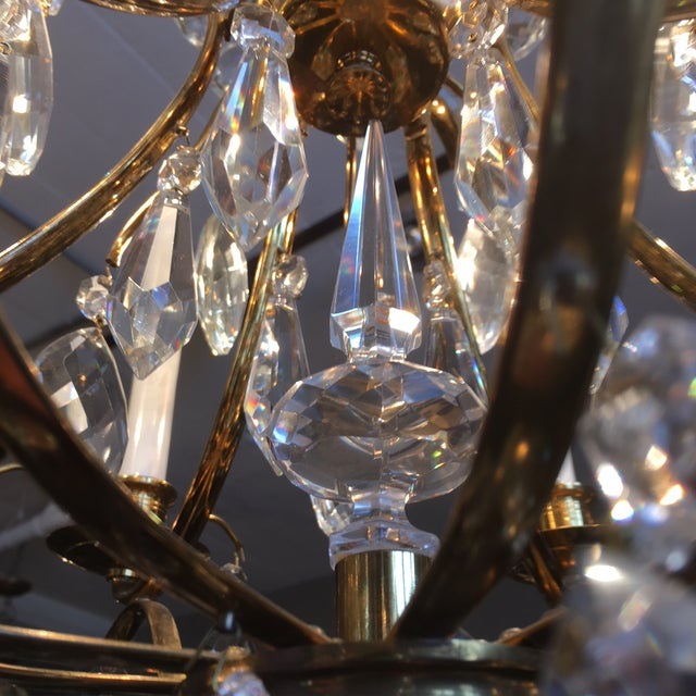 1950s Mid Century Solid Brass Crystal Marie Therese Style French Chandelier 1950s/60s For Sale - Image 5 of 13