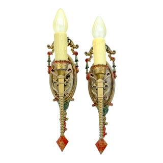 1920s Spanish Revival Wall Sconces - A Pair For Sale