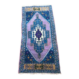 1960s Vintage Turkish Miniature Rug - 1′9″ × 4′1″ For Sale