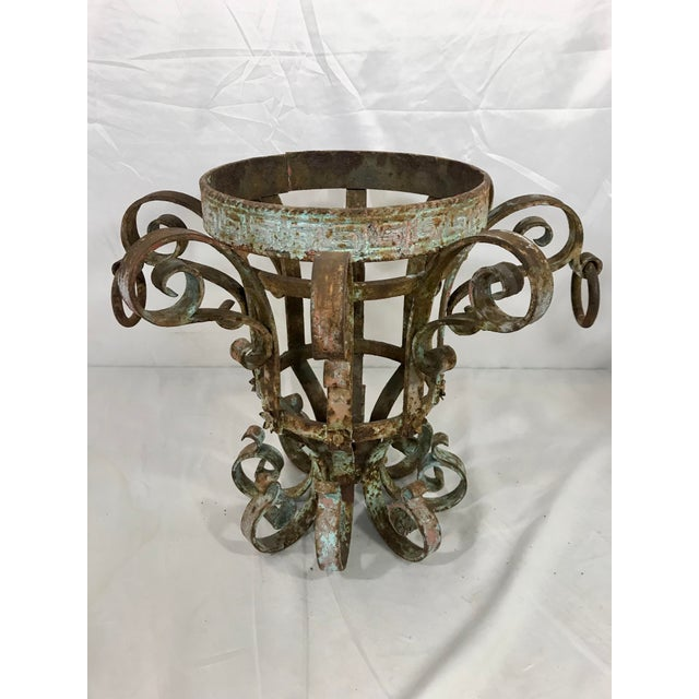 Wrought Iron Fretwork Planters a Pair For Sale - Image 10 of 13