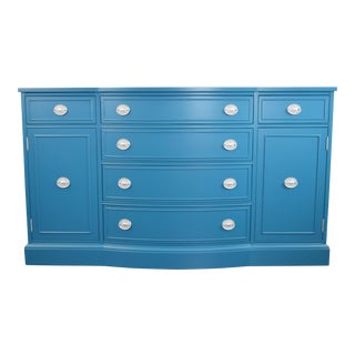 Teal Blue and Silver Sideboard