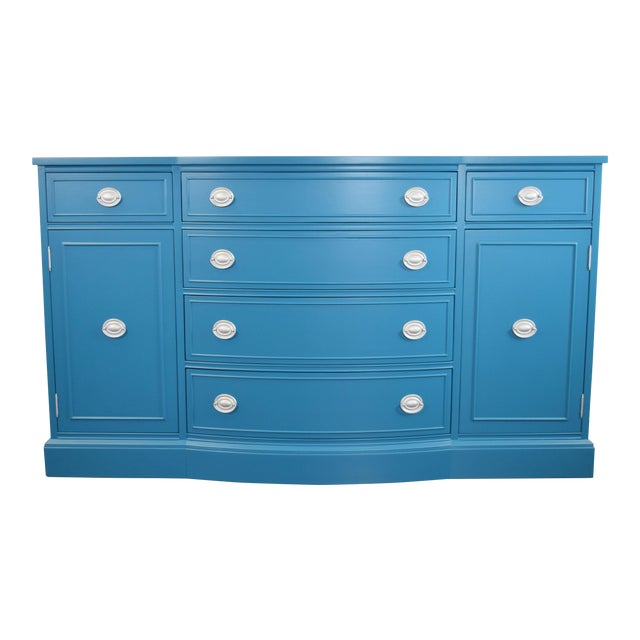 Teal Blue and Silver Sideboard For Sale