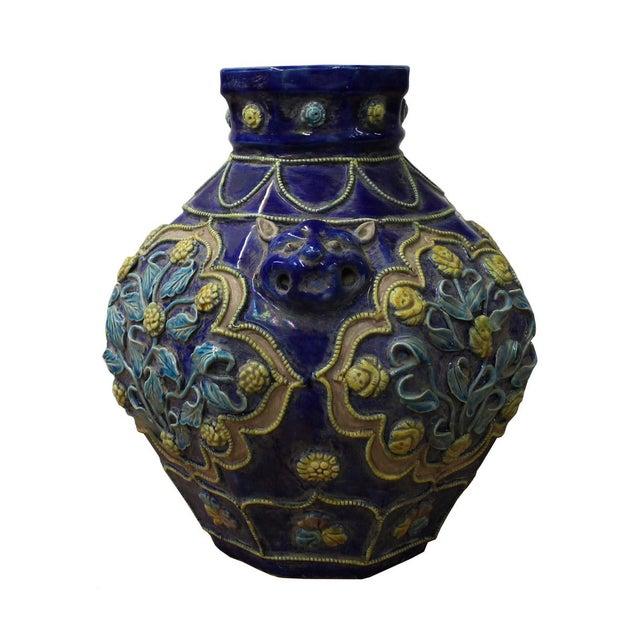 Boho Chic Handmade Ceramic Navy Blue Dimensional Flower Vase For Sale - Image 3 of 7