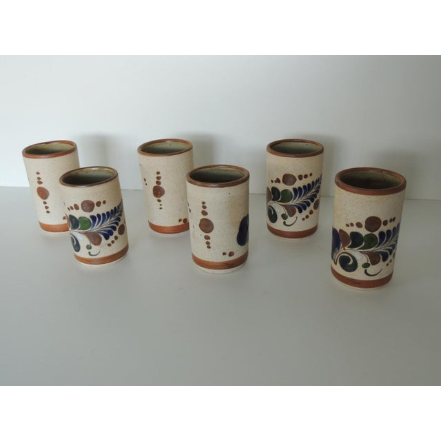 Mexican Set of Six Mexican Tonala Drinking Glasses. For Sale - Image 3 of 7