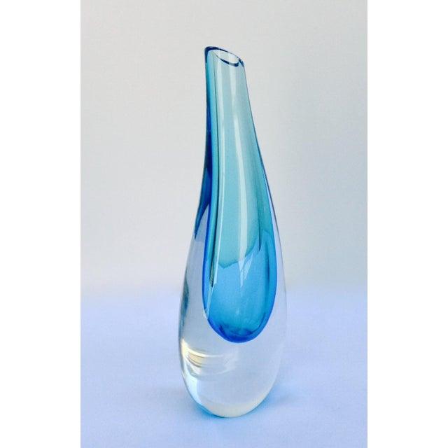 Italian Mandruzzato Cerulean Blue & Clear Vase For Sale - Image 3 of 11