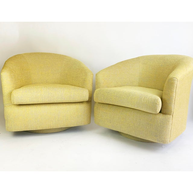1980s Newly Reupholstered Champagne Gold Swivel Lounge Chairs For Sale - Image 9 of 9