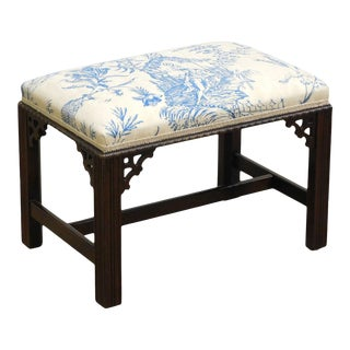 Hickory Chair Chippendale Style Mahogany Bench or Ottoman For Sale