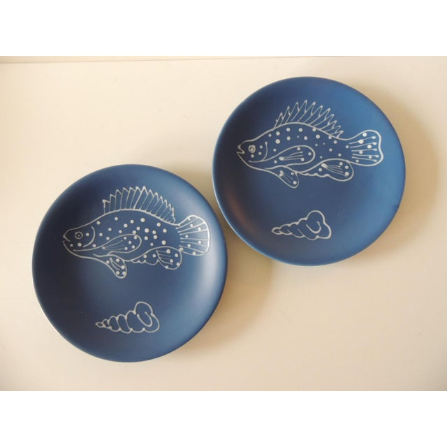 Ceramic Set of (8) Blue and White Fish Plates by Longchamp For Sale - Image 7 of 9