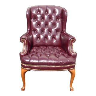 Vintage Burgundy Tufted Leather Cigar Wingback Accent Chair