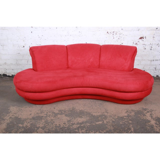 Red Adrian Pearsall Curved Kidney Shape Red Sofa for Comfort Designs For Sale - Image 8 of 8