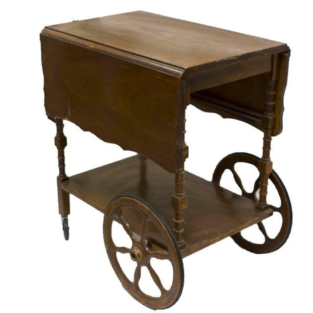 Mid-Century Wood Bar Cart - Image 2 of 5