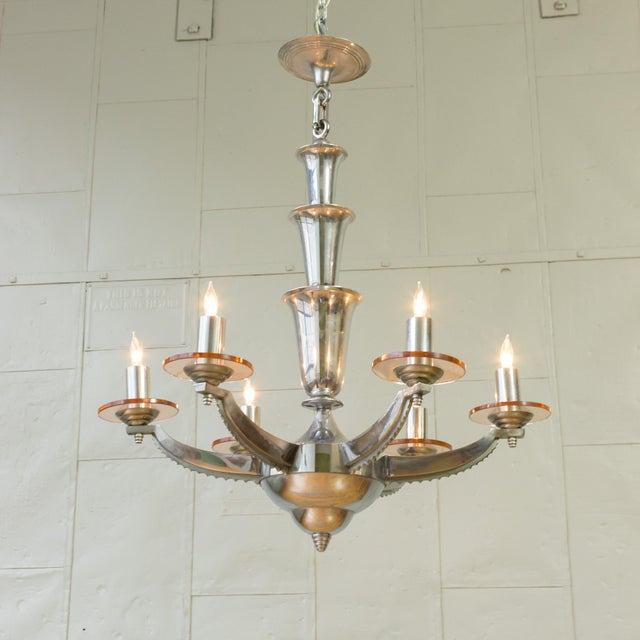 French Deco Chrome-Plated Chandelier by Petitot - Image 9 of 11