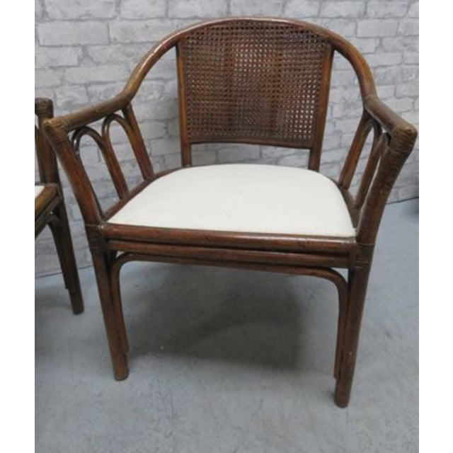 Asian McGuire Style Rattan Cane Chair a Pair Last Markdown Firm For Sale - Image 3 of 6