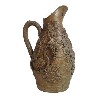 Large 19th Century French Pottery Tobacco Vine Pitcher with Grapes For Sale