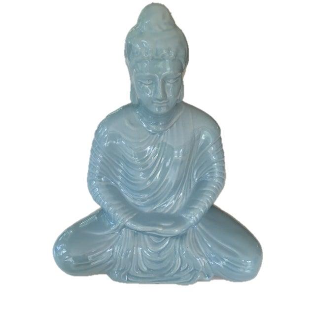 Ceramic Aqua Blue Buddha - Image 1 of 4