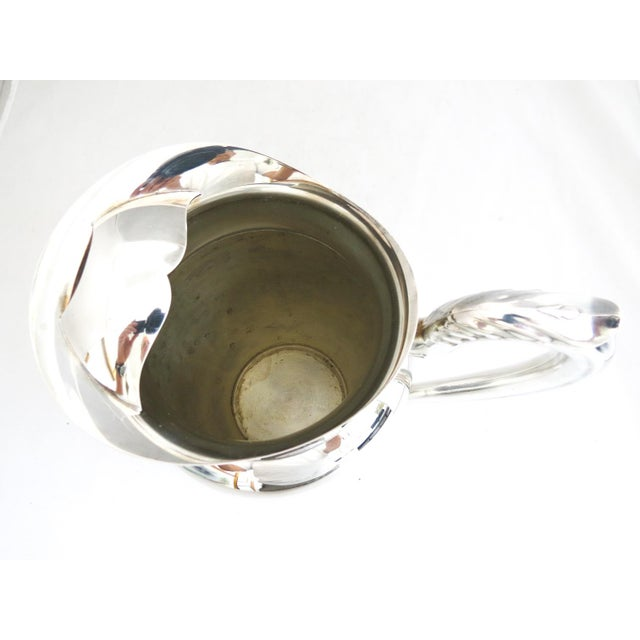 1950s Silver Water Pitcher W/Ice Shield For Sale - Image 4 of 6