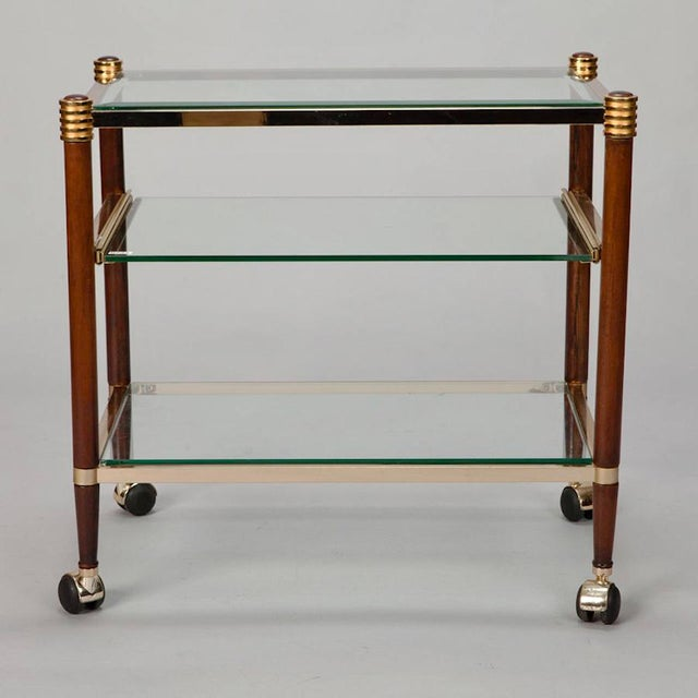 Mid-Century Italian Brass Glass and Polished Wood Trolley Table or Bar Cart For Sale - Image 4 of 8