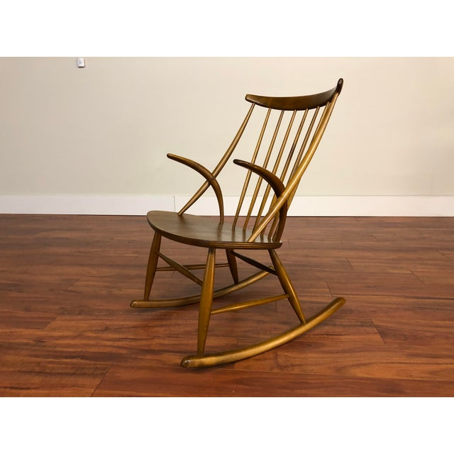 Wood Illum Wikkelso for Niels Eilersen Gyngestol Rocking Chair For Sale - Image 7 of 13