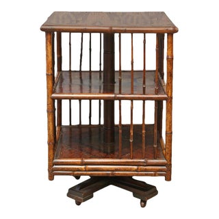 Superb 19th Century English Turning Bamboo Table on Wheels For Sale