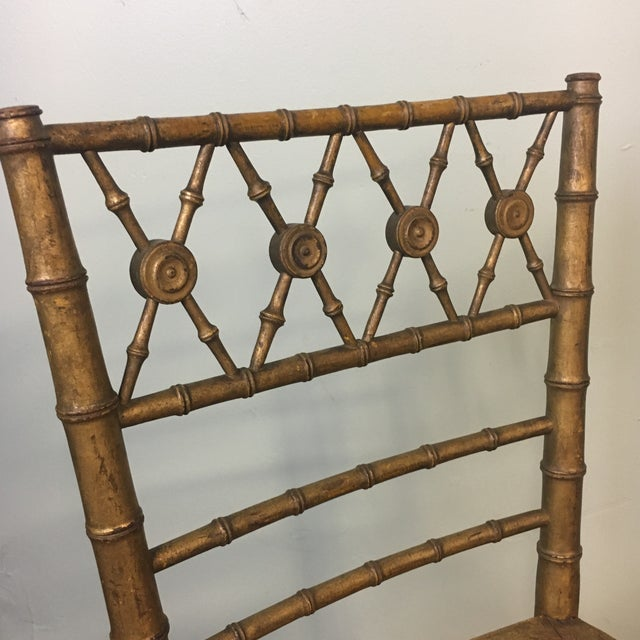 19th Century Giltwood Faux Bamboo Chair For Sale - Image 5 of 7