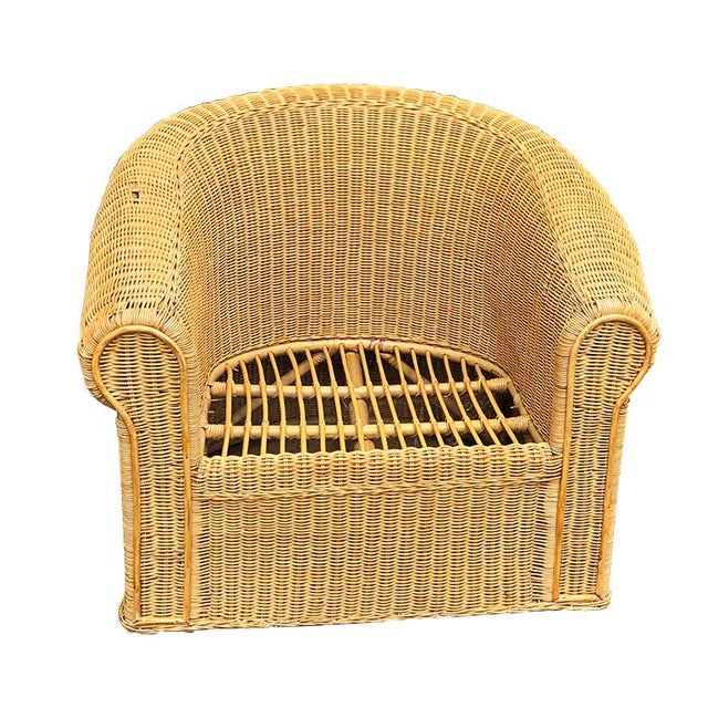 Wicker Round Wicker Bamboo Rattan Trompe l'Oeil Ghost or Draped Lounge Set 3 Pieces 1970s For Sale - Image 7 of 12