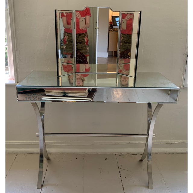 Contemporary Mercana Small Mirrored Console With Chrome Curule Legs For Sale - Image 3 of 7