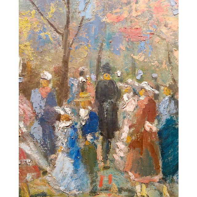 """1900 - 1909 French Impressionist """"Ladies With Parasol in an Outdoor Party"""" C.1900s For Sale - Image 5 of 10"""