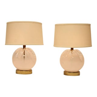 1960's Vintage Mazzega Murano Italian Murano Glass Table Lamps- A Pair For Sale