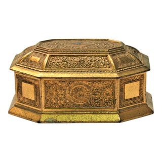 Vintage Gold Metal Jewelry Box