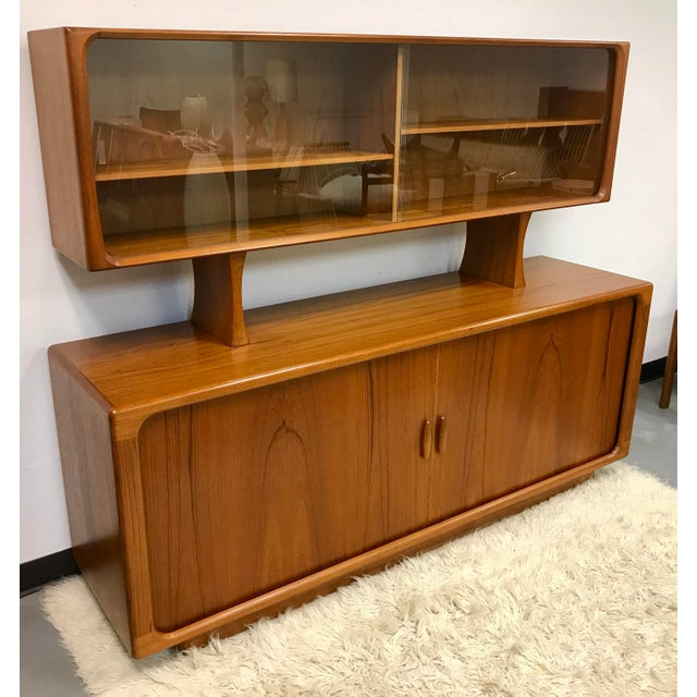 Vintage Dyrlund Mid-Century Danish Teak Tambour Sideboard & Hutch For Sale - Image 5 of 6