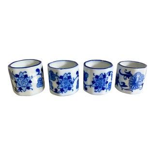 Blue & White Export Napkin Rings, S/4 For Sale