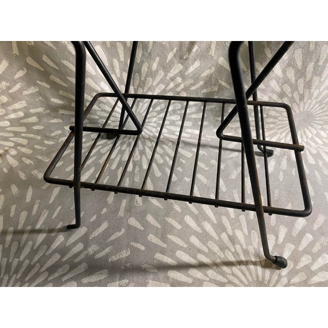 1950s 1950s Mid-Century Atomic Black Metal Wire Magazine Rack Record Holder For Sale - Image 5 of 9