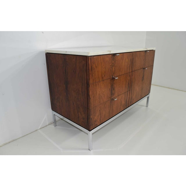 Contemporary Florence Knoll Rosewood Credenza With Calacatta Marble Top For Sale - Image 3 of 9