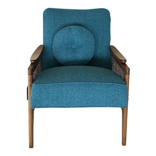 Mid-Century Modern Bright Teal Lounge Chair For Sale