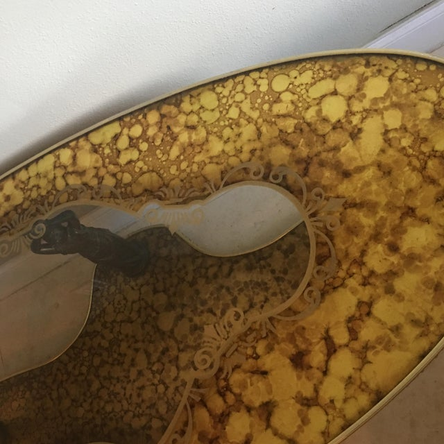 Figural Hollywood Regency Art Deco Gold Marbled Mirror Coffee Table - Image 5 of 9
