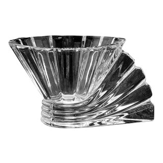 Rosenthal Studio Linie Crystal Votive Tealight Candle Holder W Fan Shaped Handle For Sale