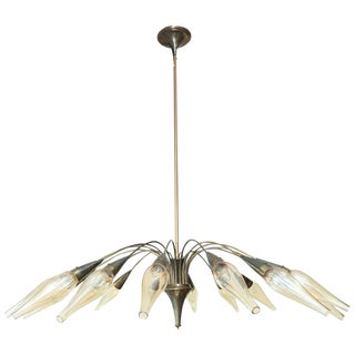 1950s Brass French Sixteen-Arm Chandelier With Original Glass Shades For Sale