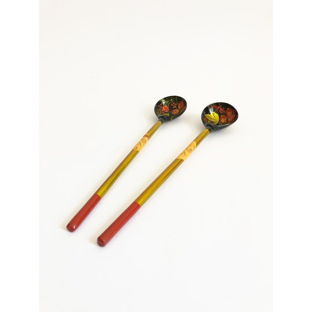 Vintage Russian Lacquerware Salad Servers For Sale - Image 4 of 7