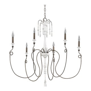 Avignon 6 Light Chandelier, French White and Weathered Iron For Sale