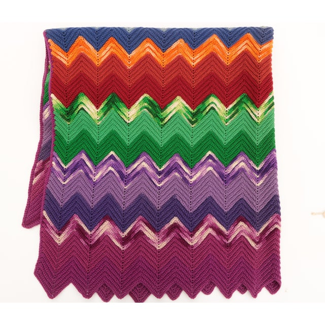 Textile Vintage Chevron Afghan For Sale - Image 7 of 7