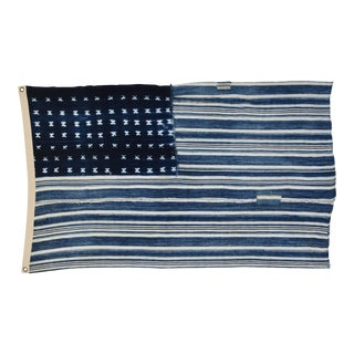 "Boho Chic Indigo Blue & White Flag From African Textiles 54"" X 33"""
