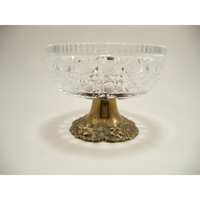 Gold Vintage Cut Crystal Compote Dish on Metal Pedestal For Sale - Image 8 of 8
